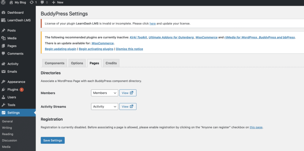 BuddyPress Registration